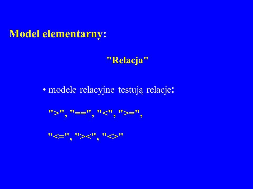 Model elementarny: Relacja modele relacyjne testują relacje: