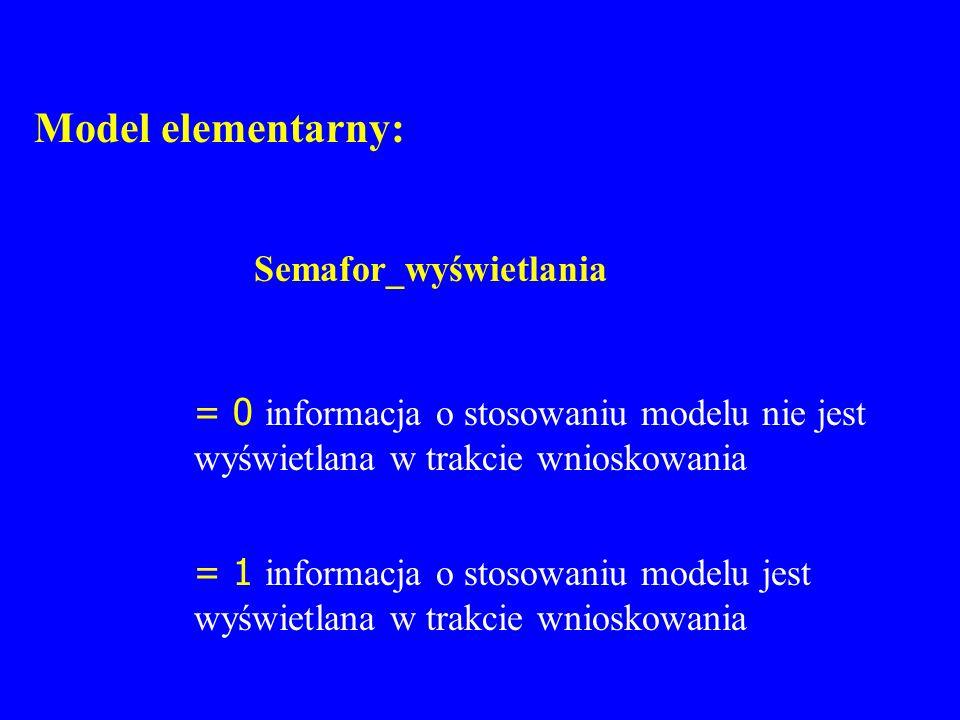 Model elementarny: Semafor_wyświetlania. = 0 informacja o stosowaniu modelu nie jest wyświetlana w trakcie wnioskowania.