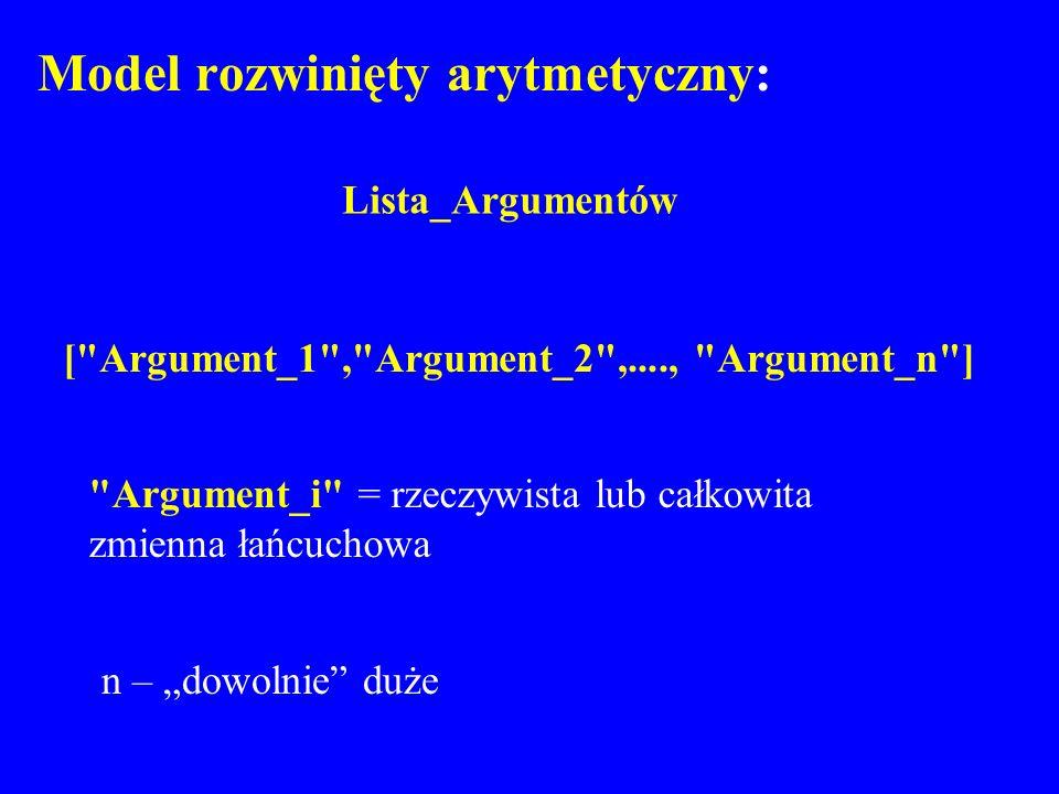 Model rozwinięty arytmetyczny: