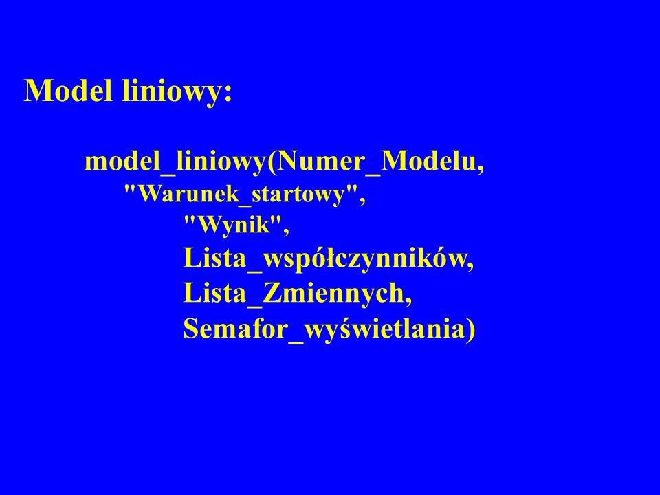 Model liniowy: model_liniowy(Numer_Modelu, Warunek_startowy ,