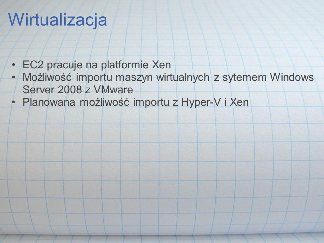 Wirtualizacja EC2 pracuje na platformie Xen