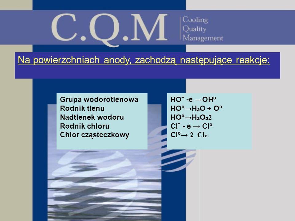 Na powierzchniach anody, zachodzą następujące reakcje: