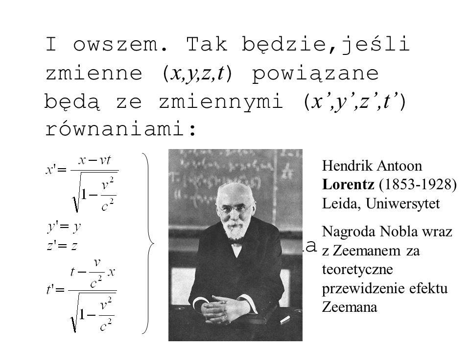 Wzory transformacyjne Lorentza