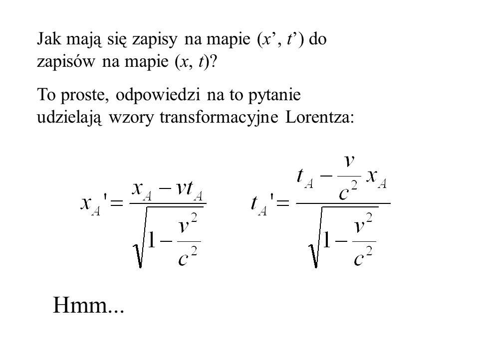 Jak mają się zapisy na mapie (x', t') do zapisów na mapie (x, t)