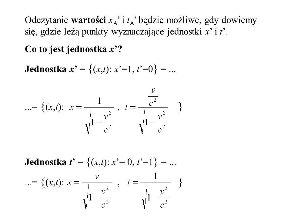 Odczytanie wartości xA' i tA' będzie możliwe, gdy dowiemy się, gdzie leżą punkty wyznaczające jednostki x' i t'.