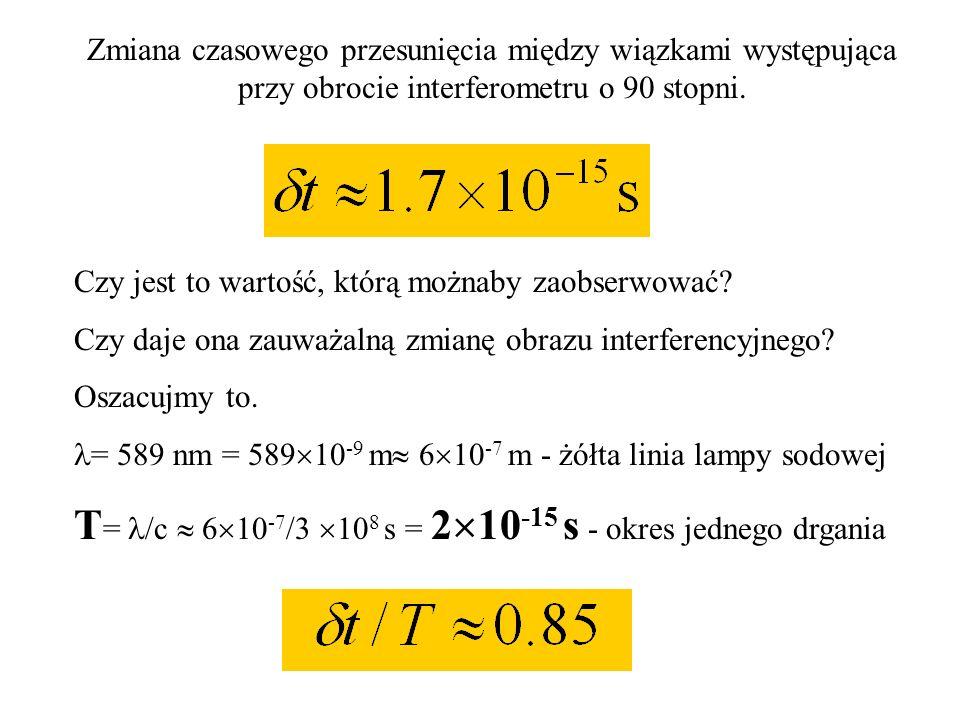 T= /c  610-7/3 108 s = 210-15 s - okres jednego drgania
