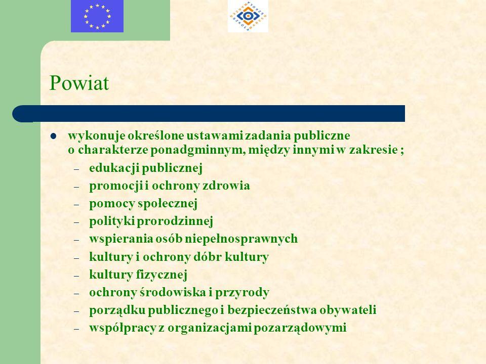 Powiat wykonuje określone ustawami zadania publiczne o charakterze ponadgminnym, między innymi w zakresie ;