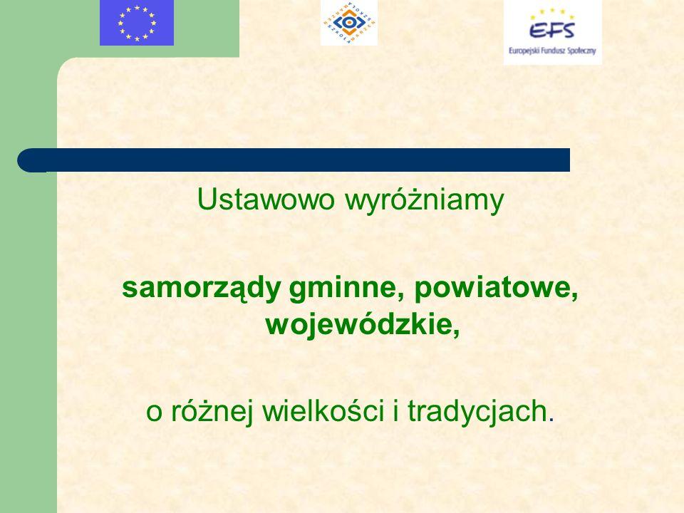 samorządy gminne, powiatowe, wojewódzkie,