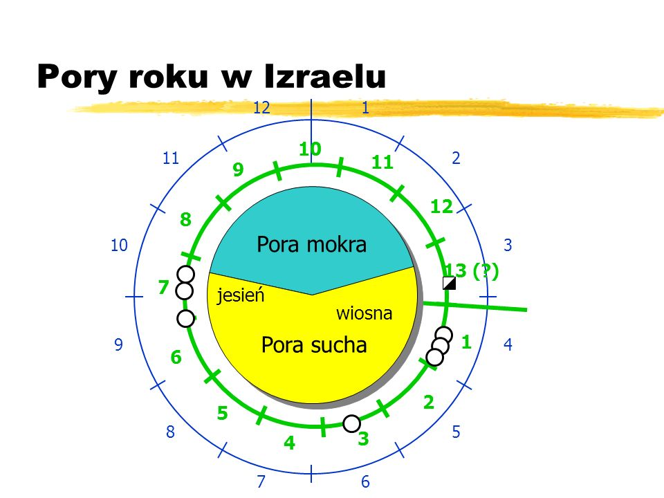Pory roku w Izraelu Pora mokra Pora sucha 10 11 9 12 8 13 ( ) 7 jesień