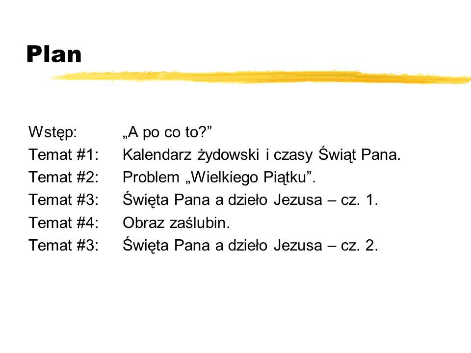 """Plan Wstęp: """"A po co to Temat #1: Kalendarz żydowski i czasy Świąt Pana. Temat #2: Problem """"Wielkiego Piątku ."""