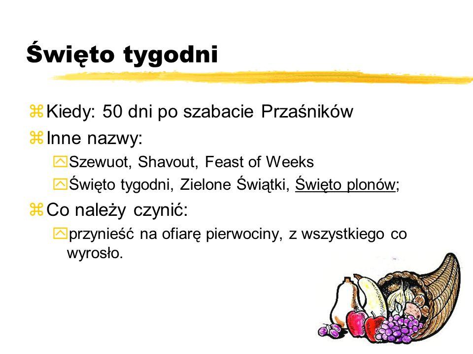 Święto tygodni Kiedy: 50 dni po szabacie Przaśników Inne nazwy: