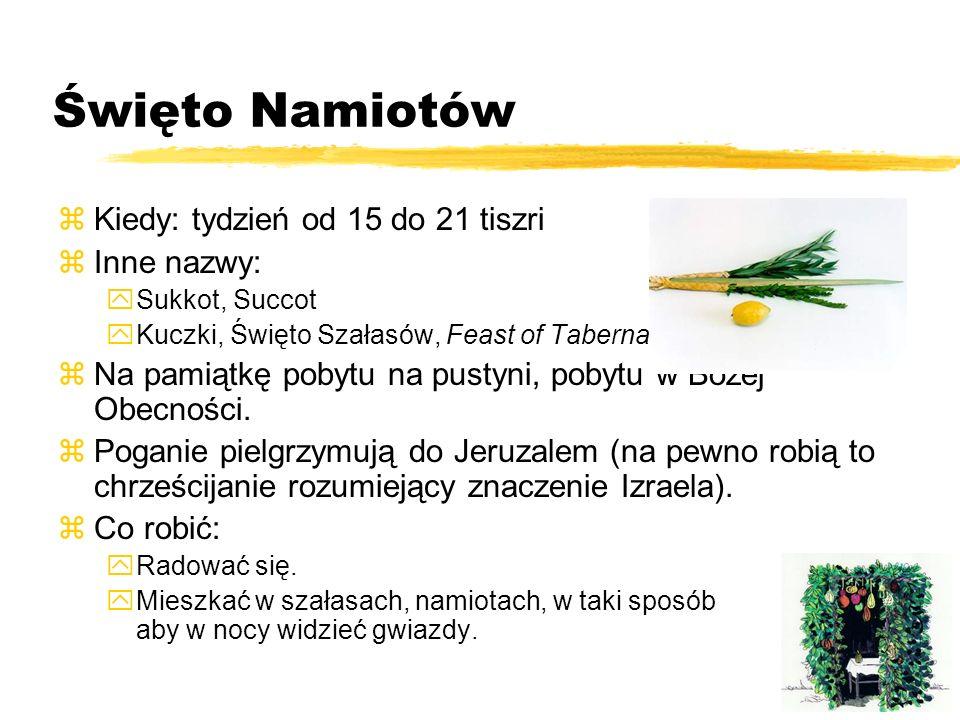Święto Namiotów Kiedy: tydzień od 15 do 21 tiszri Inne nazwy: