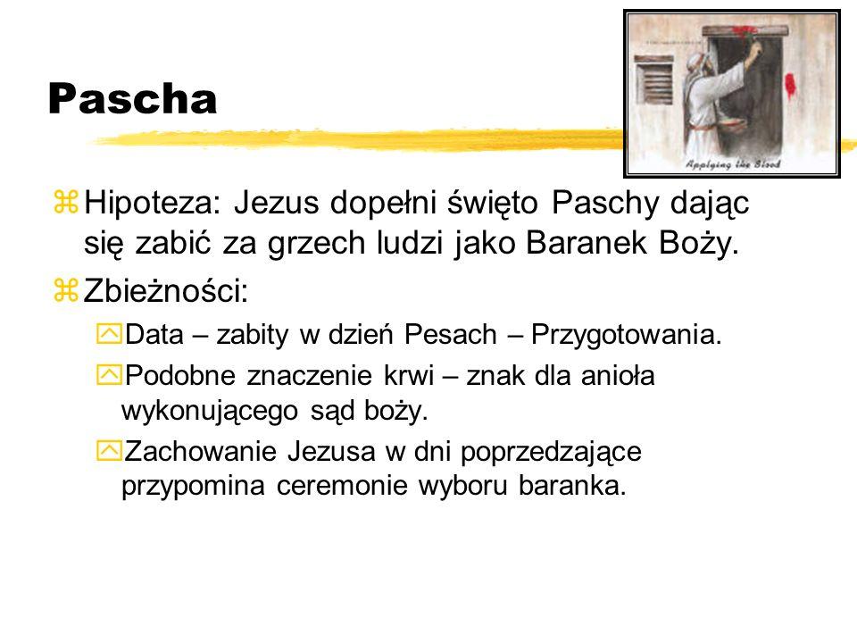 PaschaHipoteza: Jezus dopełni święto Paschy dając się zabić za grzech ludzi jako Baranek Boży. Zbieżności: