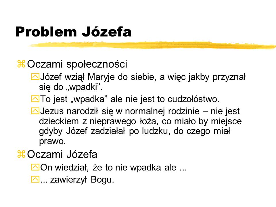 Problem Józefa Oczami społeczności Oczami Józefa