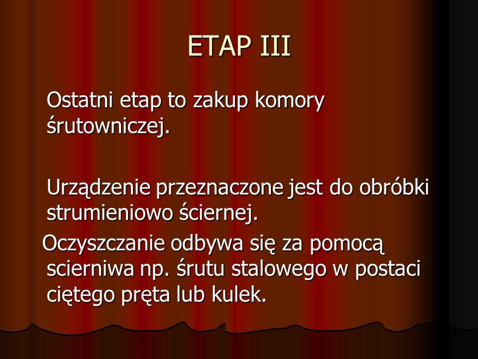 ETAP III Ostatni etap to zakup komory śrutowniczej.