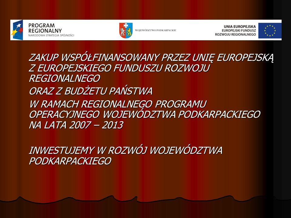ZAKUP WSPÓŁFINANSOWANY PRZEZ UNIĘ EUROPEJSKĄ Z EUROPEJSKIEGO FUNDUSZU ROZWOJU REGIONALNEGO