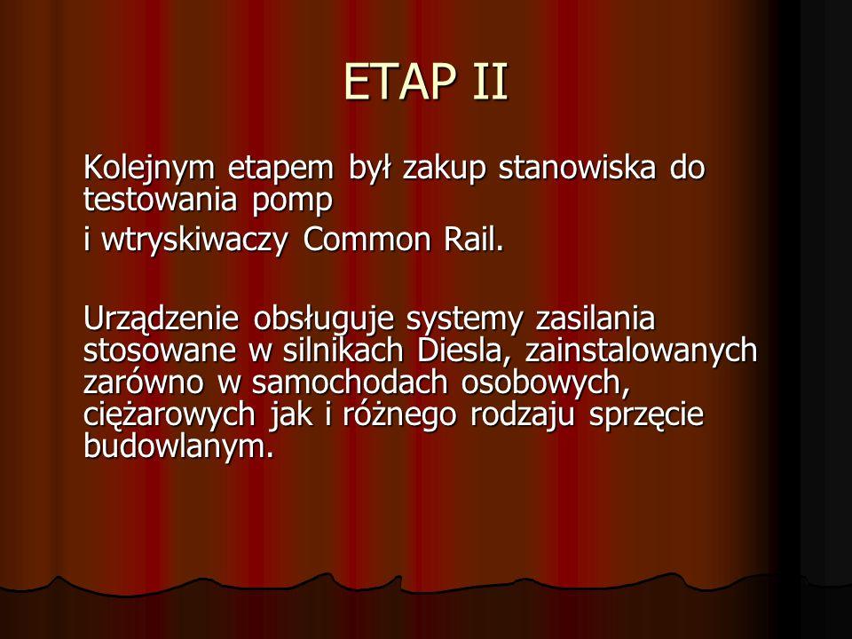 ETAP II i wtryskiwaczy Common Rail.