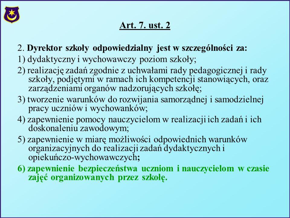 Art. 7. ust. 22. Dyrektor szkoły odpowiedzialny jest w szczególności za: 1) dydaktyczny i wychowawczy poziom szkoły;