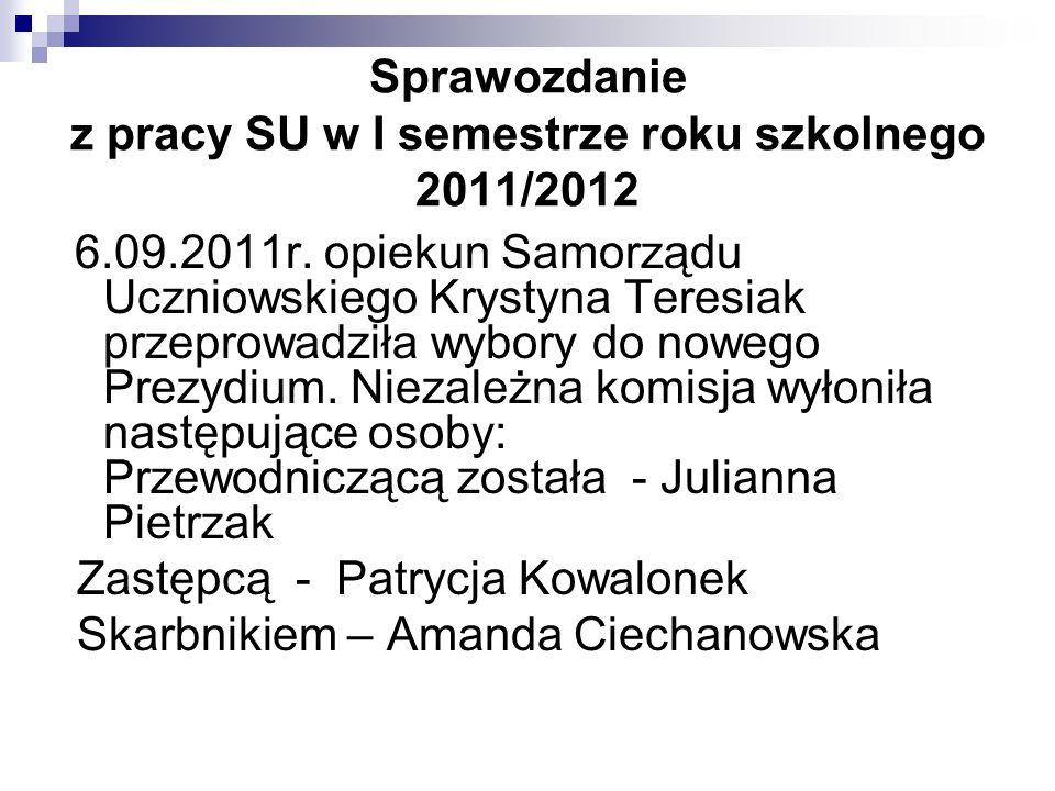 Sprawozdanie z pracy SU w I semestrze roku szkolnego 2011/2012
