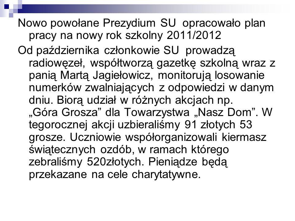 Nowo powołane Prezydium SU opracowało plan pracy na nowy rok szkolny 2011/2012