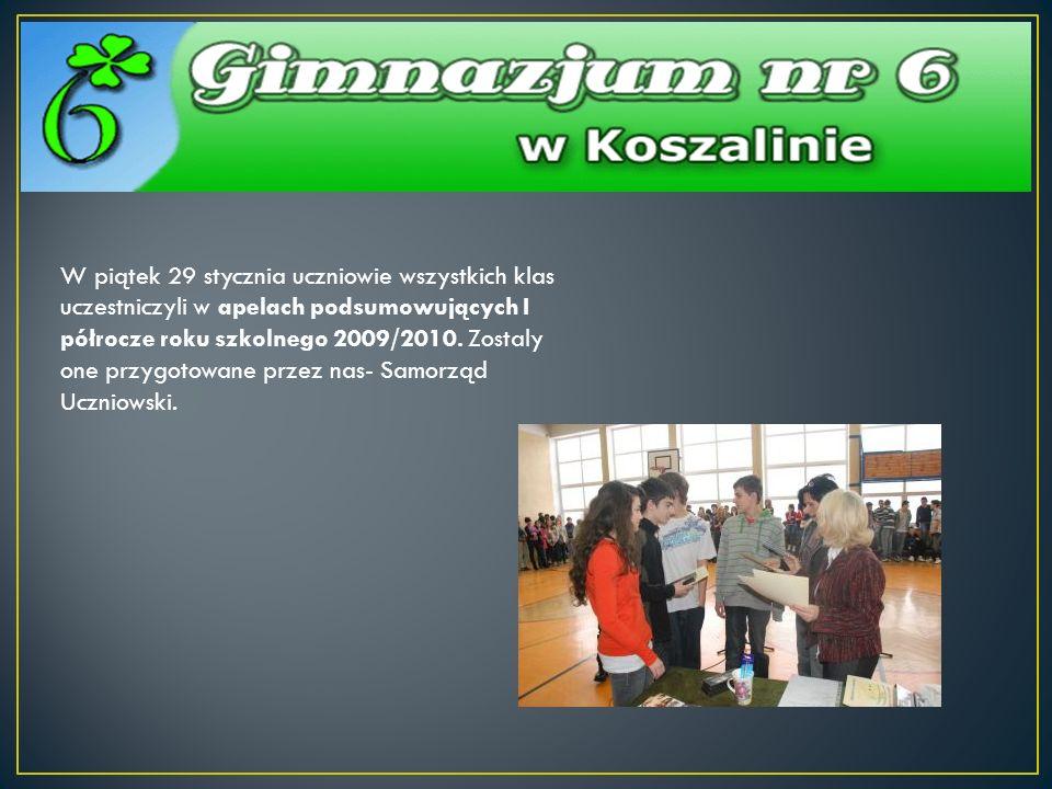W piątek 29 stycznia uczniowie wszystkich klas uczestniczyli w apelach podsumowujących I półrocze roku szkolnego 2009/2010.