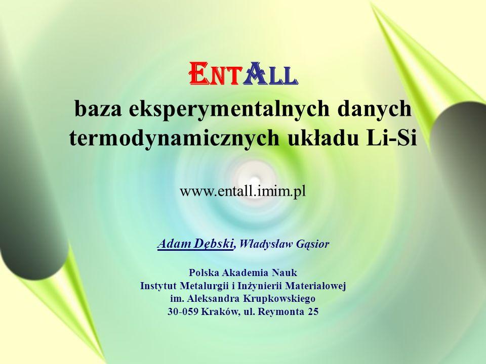 ENTALL baza eksperymentalnych danych termodynamicznych układu Li-Si