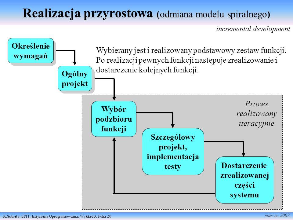 Realizacja przyrostowa (odmiana modelu spiralnego)