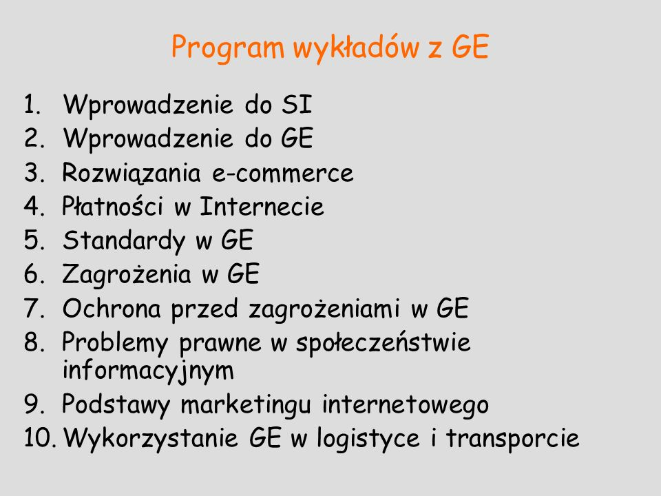 Program wykładów z GE Wprowadzenie do SI Wprowadzenie do GE
