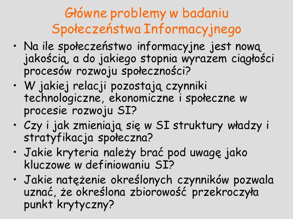 Główne problemy w badaniu Społeczeństwa Informacyjnego