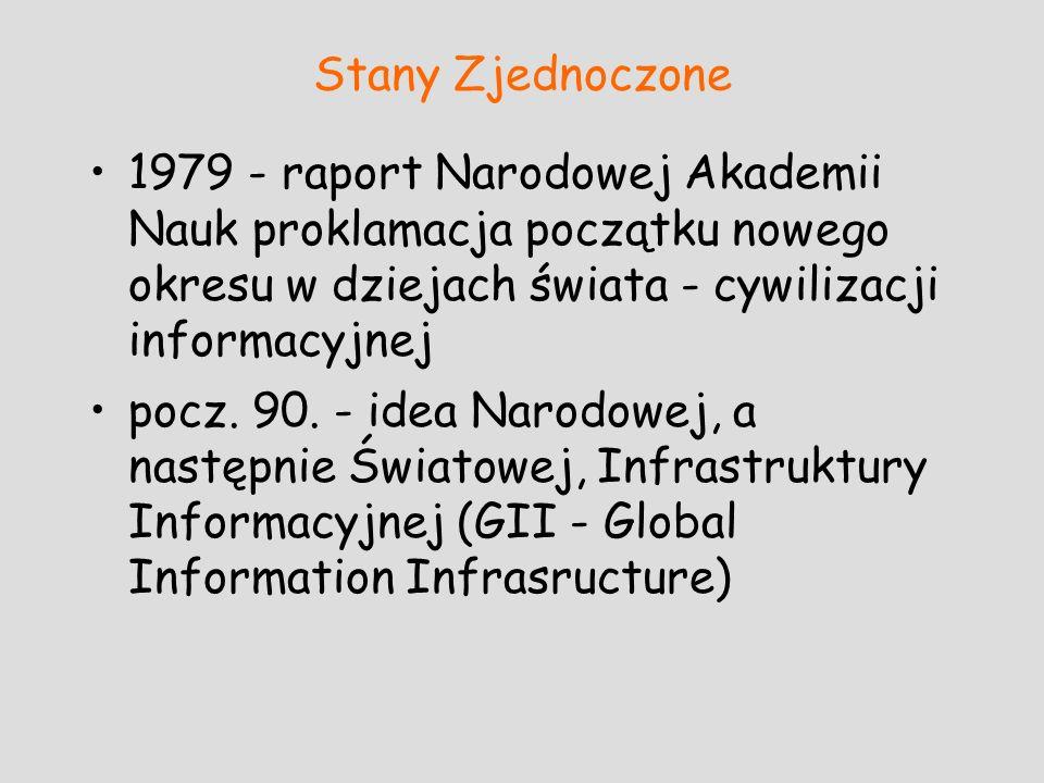 Stany Zjednoczone1979 - raport Narodowej Akademii Nauk proklamacja początku nowego okresu w dziejach świata - cywilizacji informacyjnej.