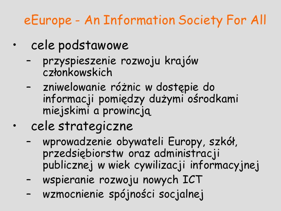 eEurope - An Information Society For All