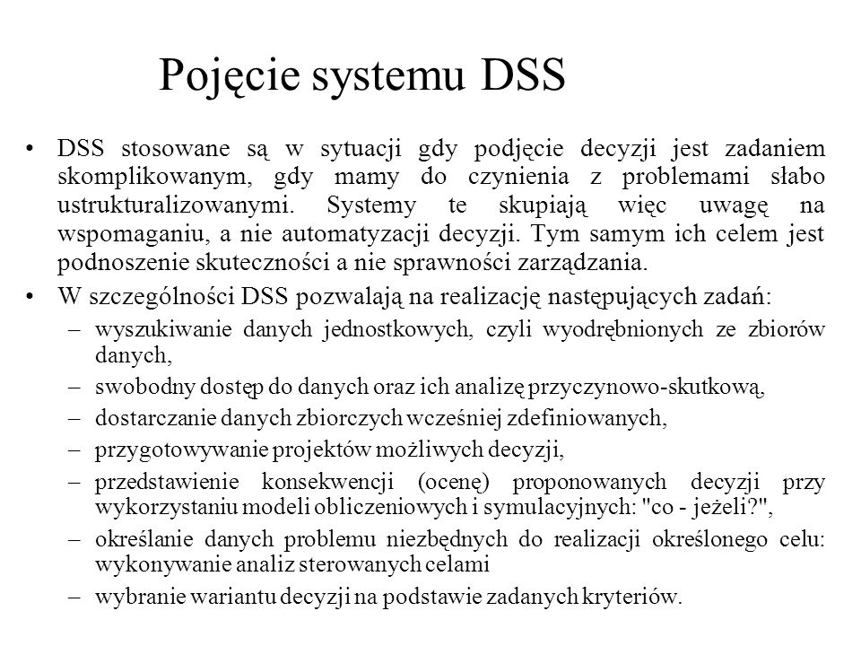 Pojęcie systemu DSS