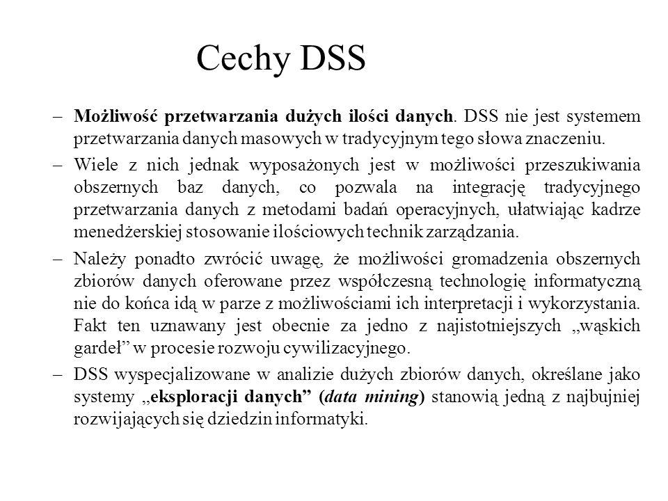 Cechy DSS Możliwość przetwarzania dużych ilości danych. DSS nie jest systemem przetwarzania danych masowych w tradycyjnym tego słowa znaczeniu.