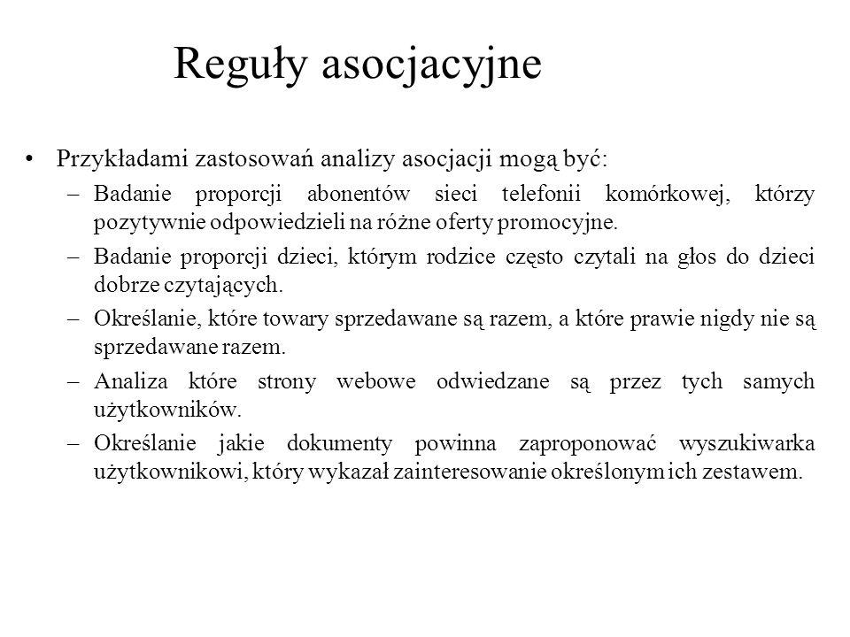 Reguły asocjacyjne Przykładami zastosowań analizy asocjacji mogą być: