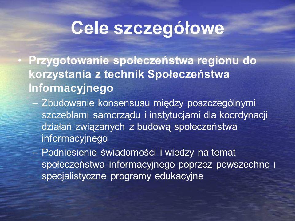 Cele szczegółowe Przygotowanie społeczeństwa regionu do korzystania z technik Społeczeństwa Informacyjnego.