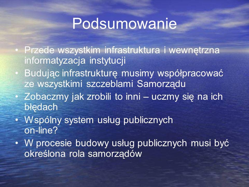 Podsumowanie Przede wszystkim infrastruktura i wewnętrzna informatyzacja instytucji.