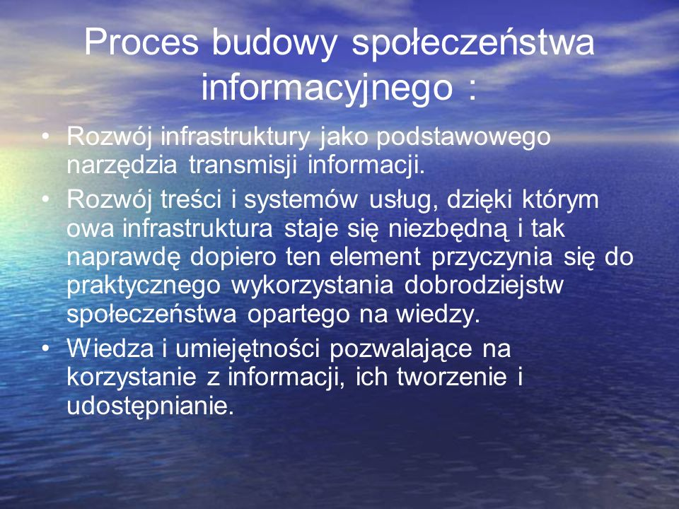 Proces budowy społeczeństwa informacyjnego :