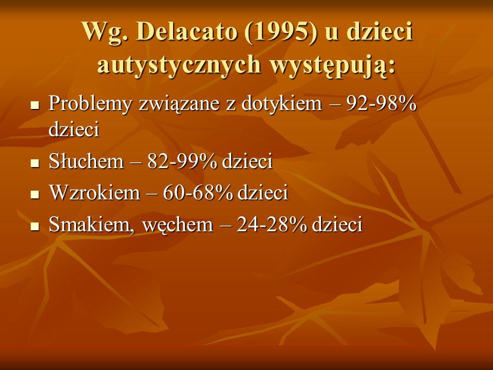 Wg. Delacato (1995) u dzieci autystycznych występują: