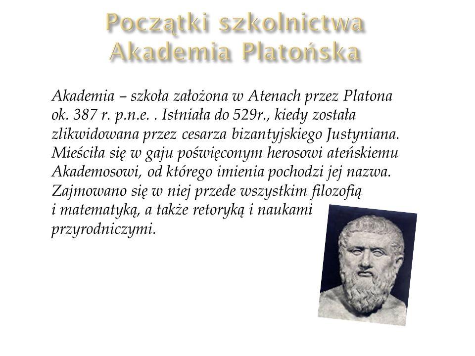 Początki szkolnictwa Akademia Platońska