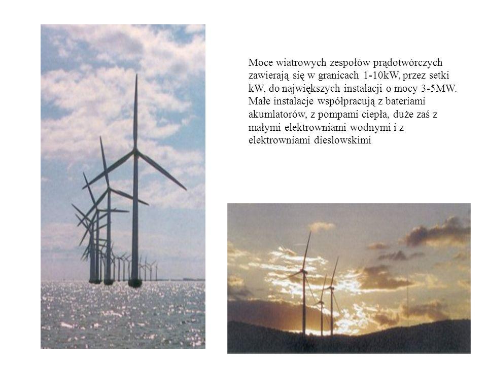Moce wiatrowych zespołów prądotwórczych zawierają się w granicach 1-10kW, przez setki kW, do największych instalacji o mocy 3-5MW.
