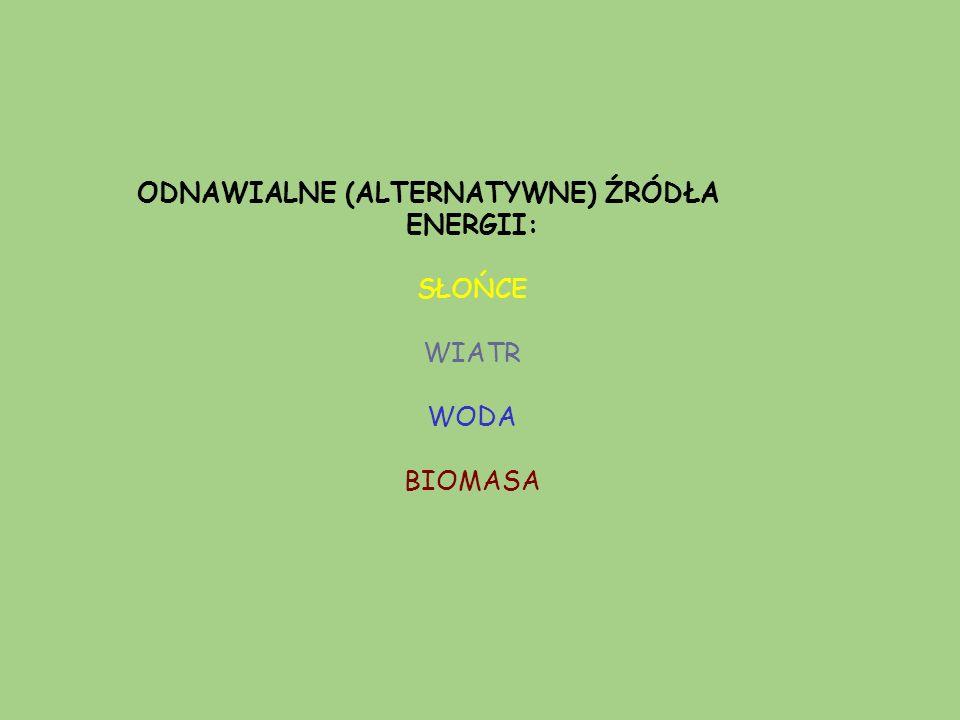 ODNAWIALNE (ALTERNATYWNE) ŹRÓDŁA ENERGII: SŁOŃCE WIATR WODA BIOMASA