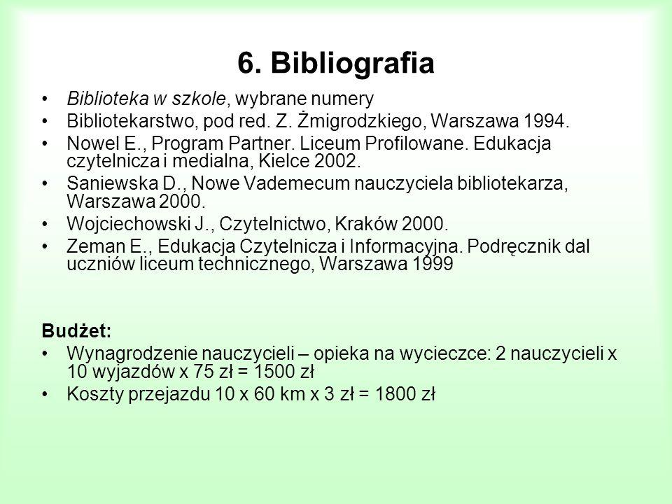 6. Bibliografia Biblioteka w szkole, wybrane numery