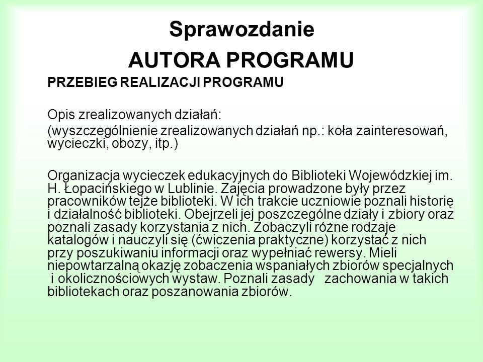 Sprawozdanie AUTORA PROGRAMU