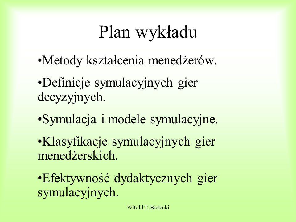 Plan wykładu Metody kształcenia menedżerów.