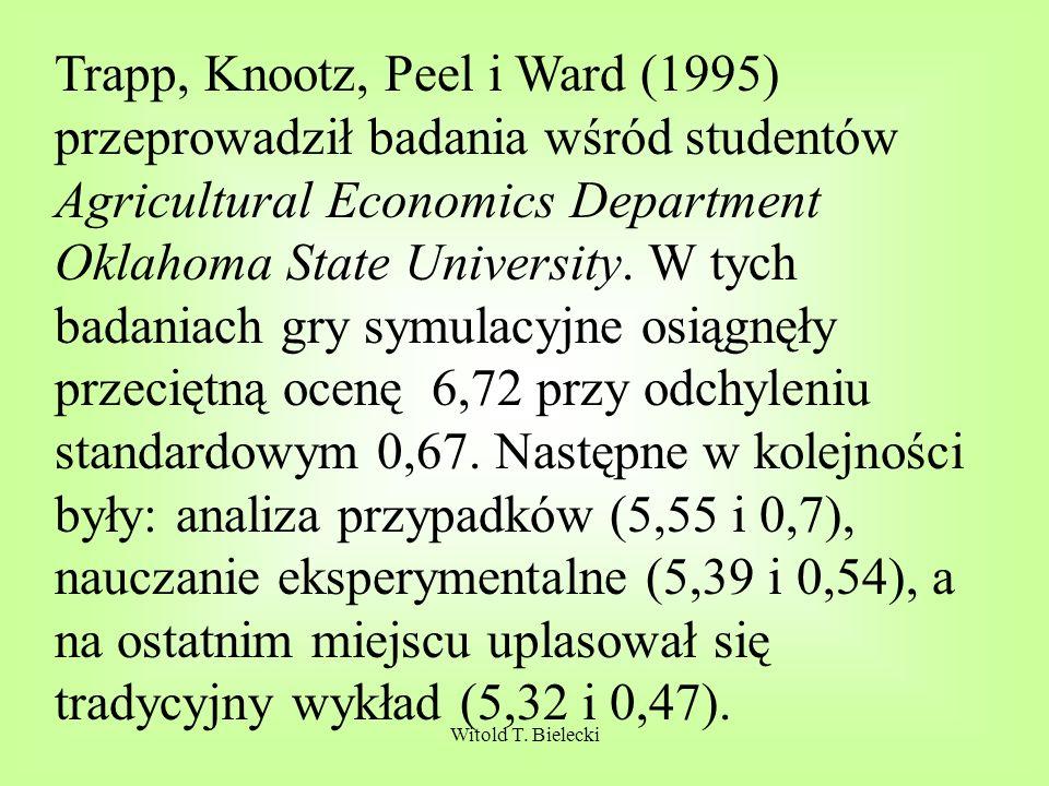Trapp, Knootz, Peel i Ward (1995) przeprowadził badania wśród studentów Agricultural Economics Department Oklahoma State University. W tych badaniach gry symulacyjne osiągnęły przeciętną ocenę 6,72 przy odchyleniu standardowym 0,67. Następne w kolejności były: analiza przypadków (5,55 i 0,7), nauczanie eksperymentalne (5,39 i 0,54), a na ostatnim miejscu uplasował się tradycyjny wykład (5,32 i 0,47).