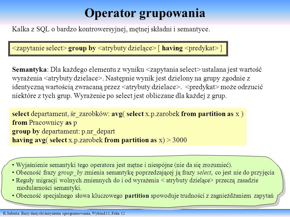 Operator grupowania Kalka z SQL o bardzo kontrowersyjnej, mętnej składni i semantyce.