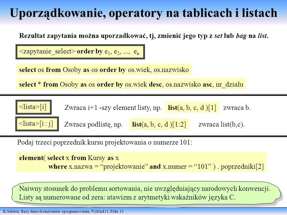 Uporządkowanie, operatory na tablicach i listach