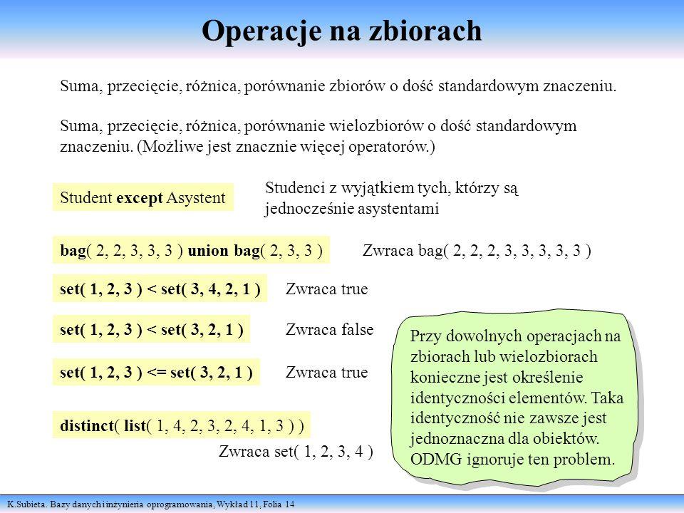 Operacje na zbiorach Suma, przecięcie, różnica, porównanie zbiorów o dość standardowym znaczeniu.