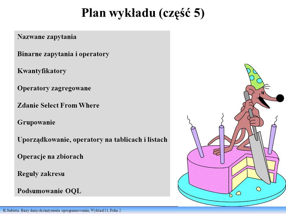 Plan wykładu (część 5) Nazwane zapytania Binarne zapytania i operatory