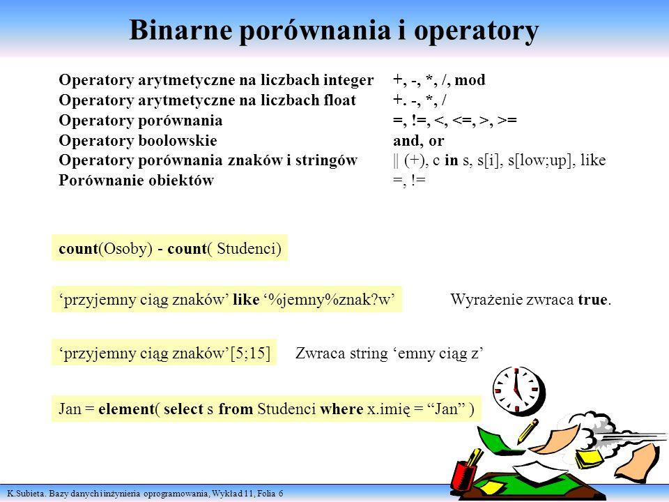Binarne porównania i operatory